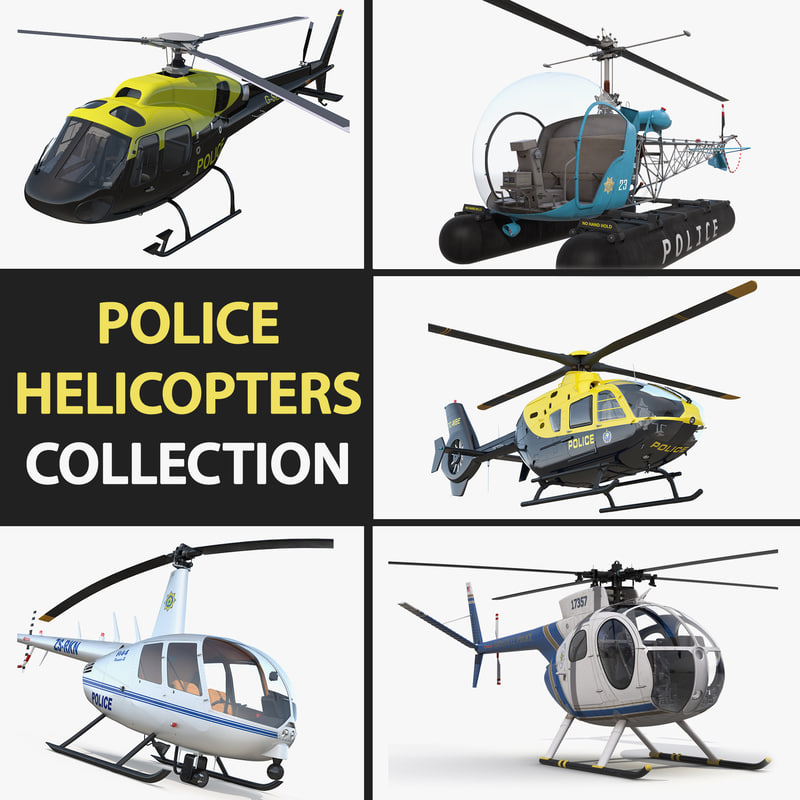 police helicopters eurocopter ec 3D model