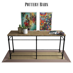 parquet reclaimed wood console table 3D model