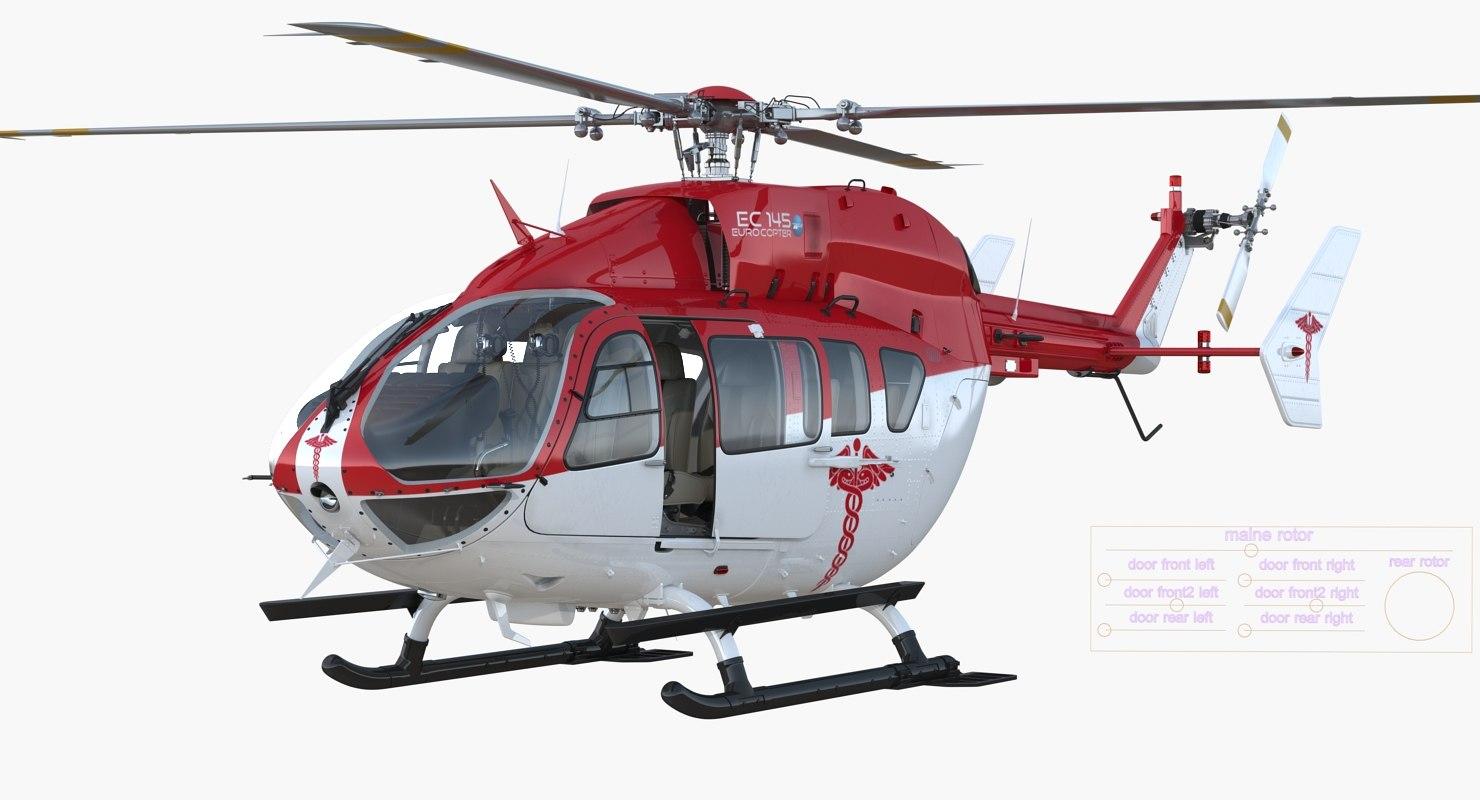 3d eurocopter ec145 medical helicopter turbosquid 1197637