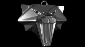 medallion cat school witcher 3D model