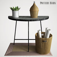 3D quinton galvanized demilune console table
