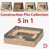 Construction Pits 3D Models Collection