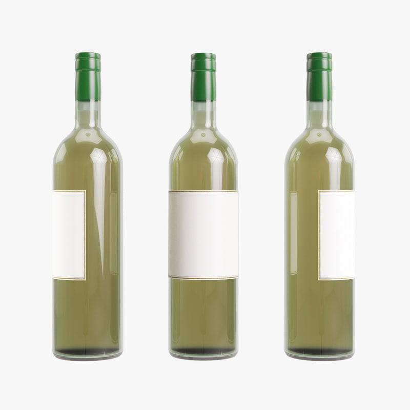 bottle white wine 3D