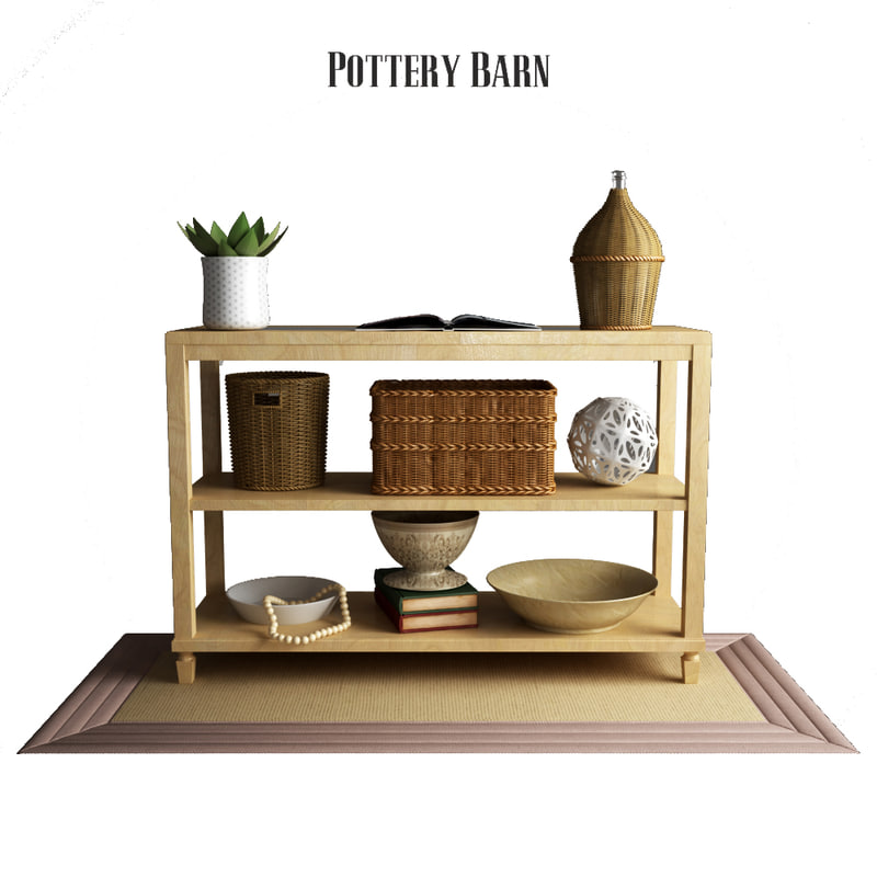 3D pottery barn sausalito console table model