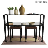 pottery barn tanner console table 3D model