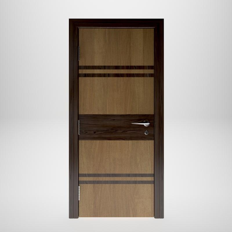 wooden door interior 3D