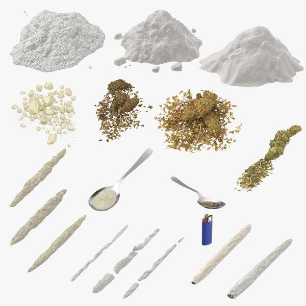 3D drugs marijuana heroin model