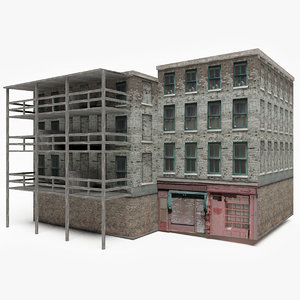 3D ready old apartment building model