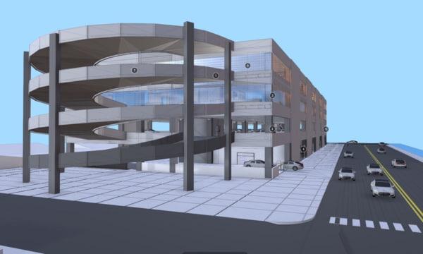 3D model adaptable concrete parking structure