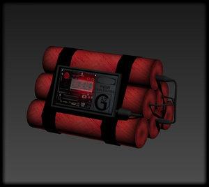 3D dynamite bomb model