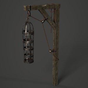 3D medieval gibbet cage model