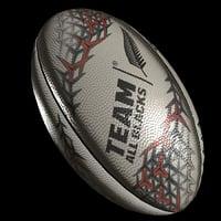 3D rugby ball blacks model