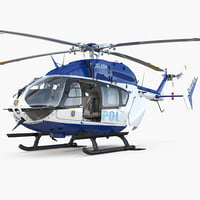 Eurocopter EC145 German Police Helicopter Rigged 3D Model