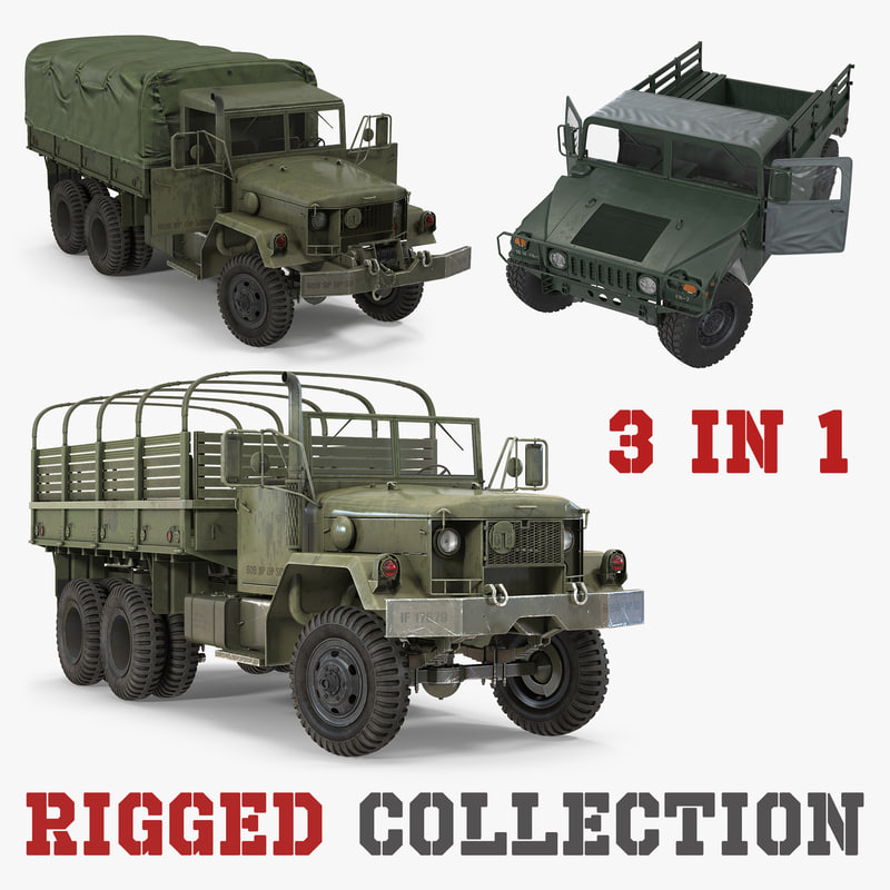 3D military cargo vehicles rigged