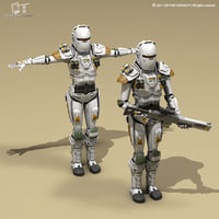 sci-fi female armoured soldier 3D