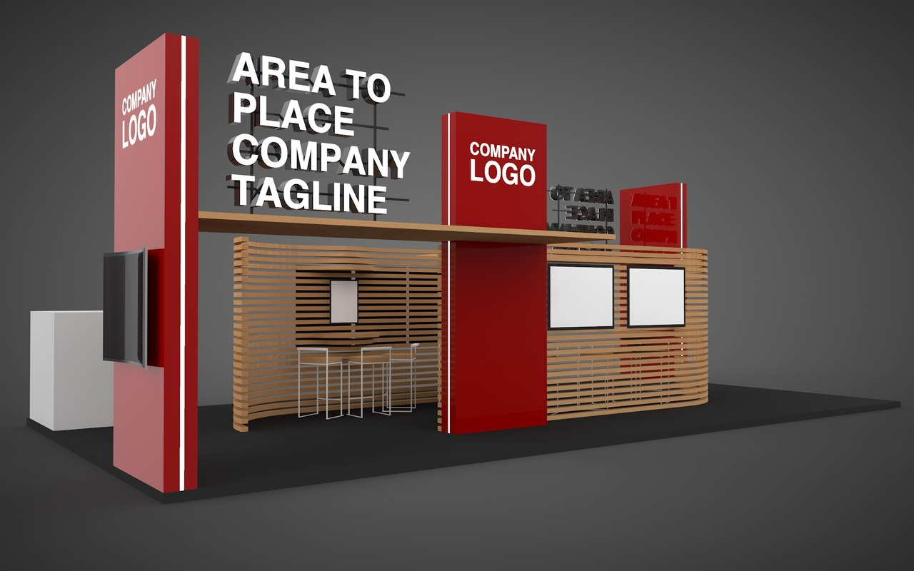 Exhibition Stall Design Vector Free Download : D model stand exhibition turbosquid