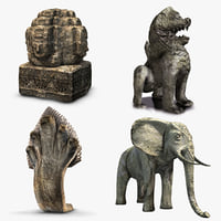 3D angkor statues pack