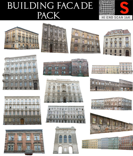 old city building facade 3D