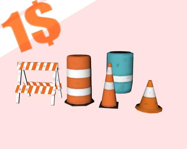 3D cones styles 3 barrier model