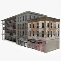 3D model ready apartment building block