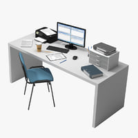 Office Desk with Items