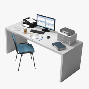 3D office table items model