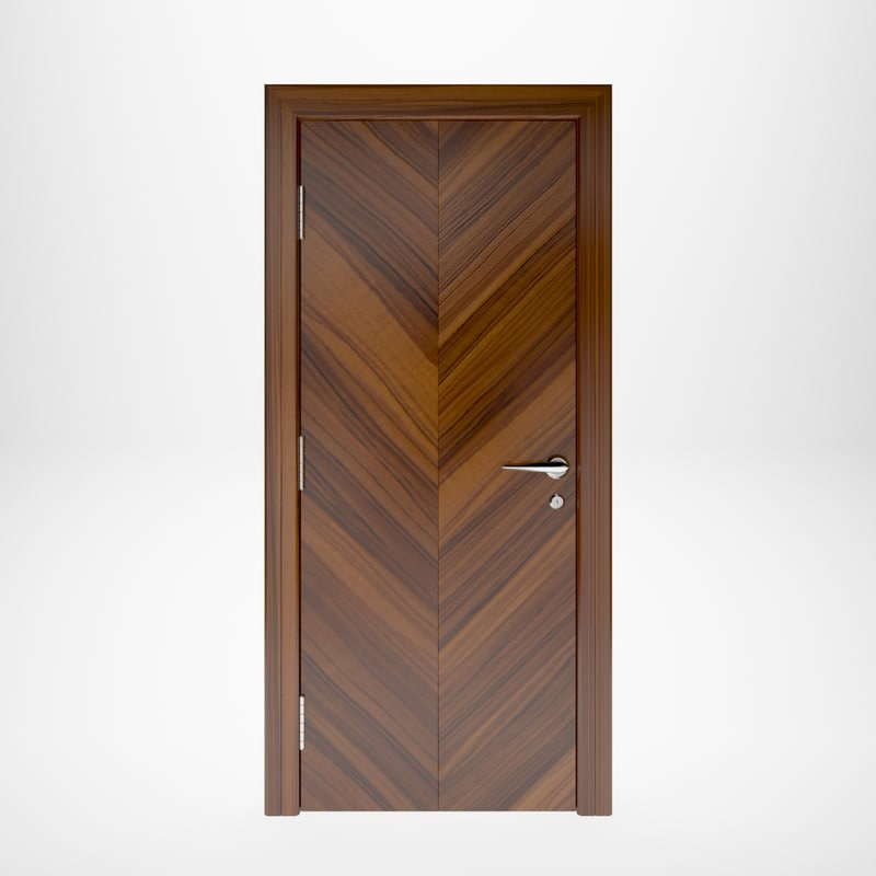 wooden door interior 3D