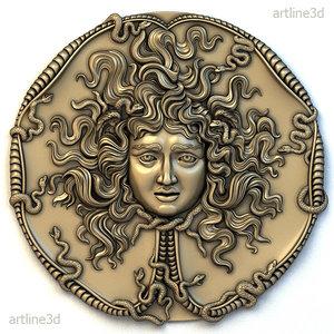 3D medusa medallion basrelief bas