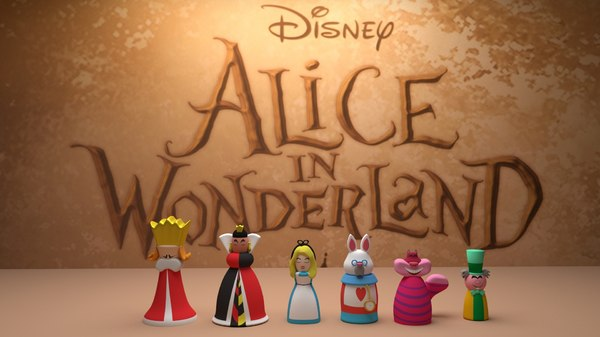 chess alice wonderland 3D model