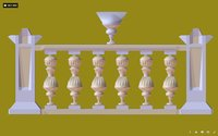 Architectural  Balustrade - Gold Palace Decor Baroque 2 ( for 3D games)