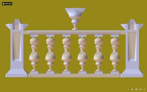 decorative palace balustrade 2 3D model
