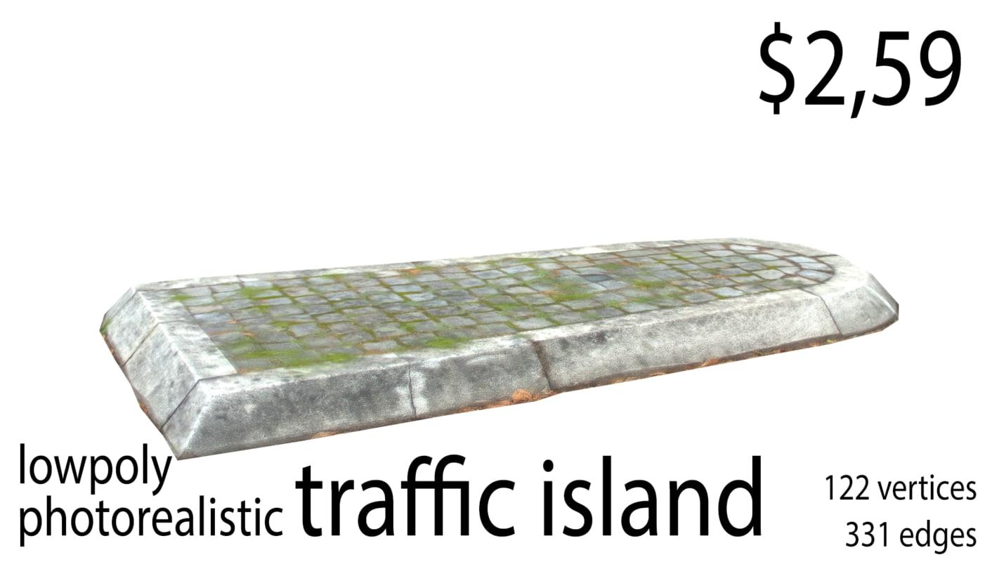 3D traffic island