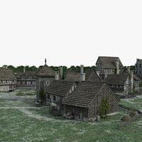 medieval town village model