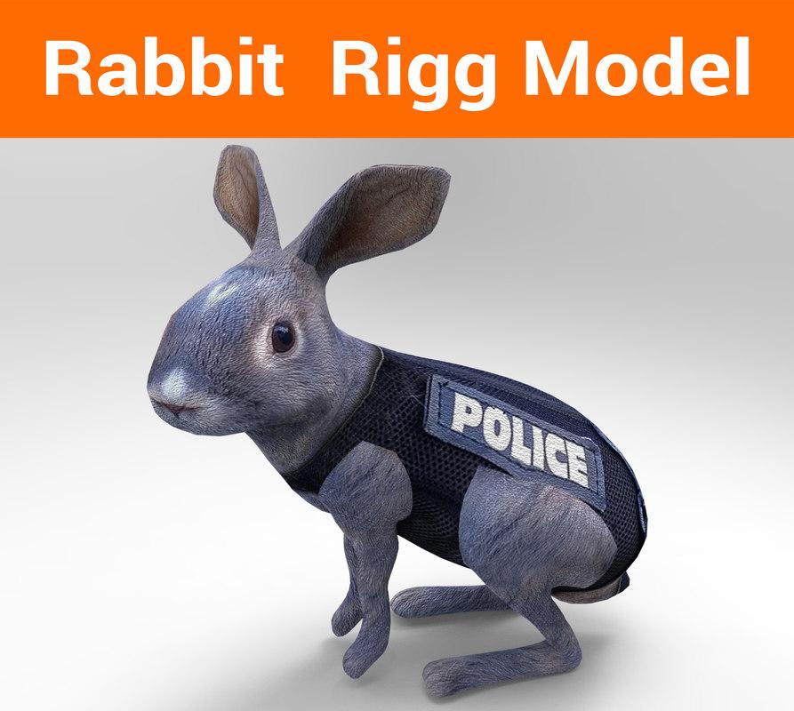 3D police rabbit rigged model