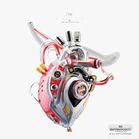 futuristic robotic heart 3D