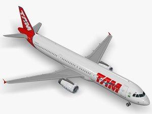 airbus a321-231 tam a321 3D model