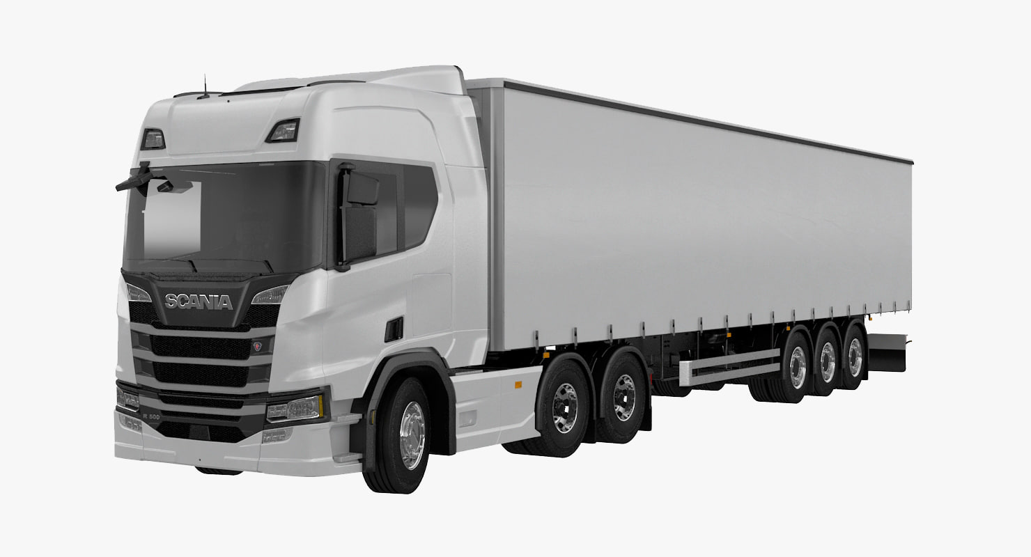 3D scania r500 tautliner trailer