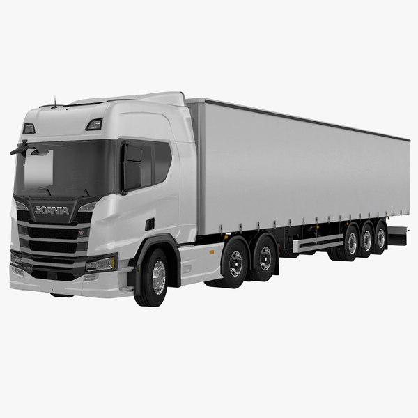 3D scania r500 tautliner trailer
