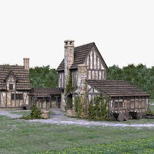 3D medieval town village