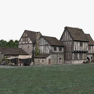 3D medieval town village model