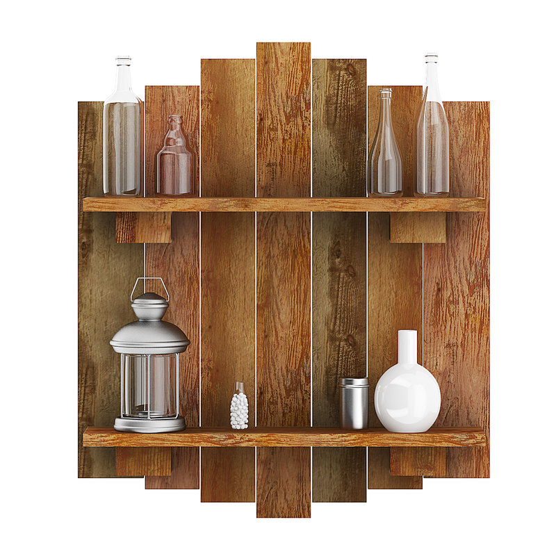 wall decoration wooden planks model
