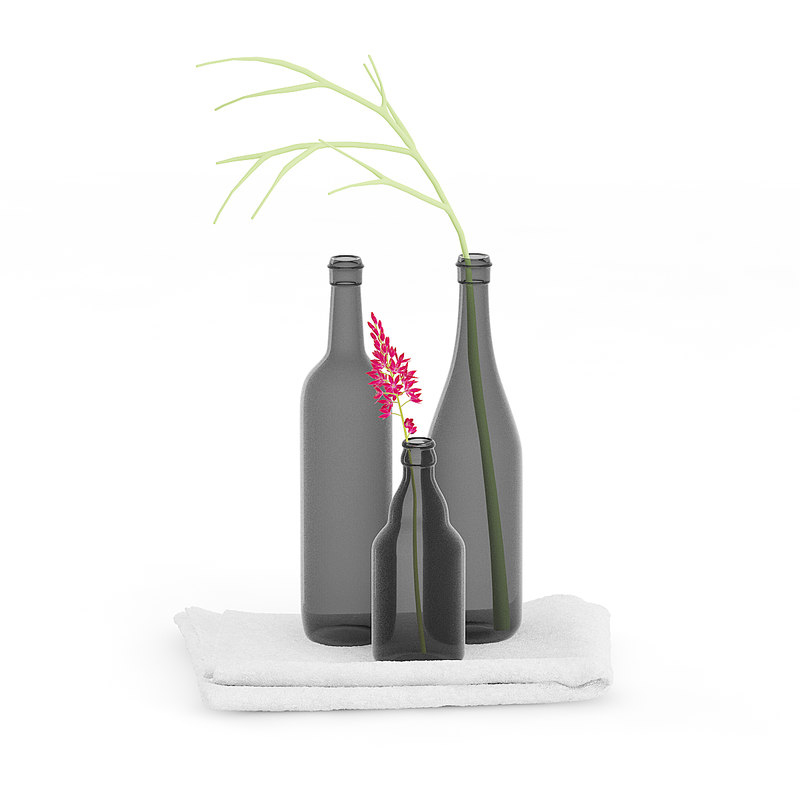 black bottles towel 3D model