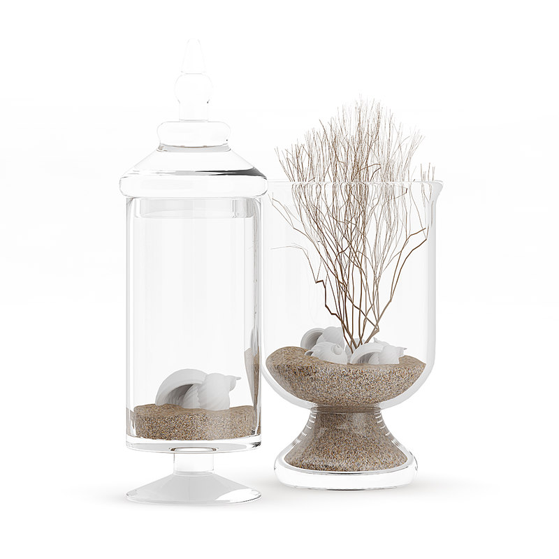 3D decorative glass containers sand