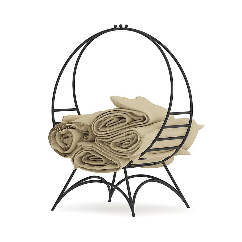 3D model black blanket stand