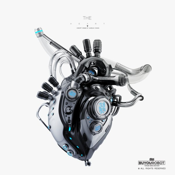 futuristic robotic heart model