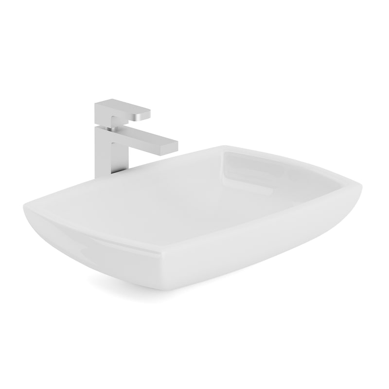 washbasin rectangular metal model