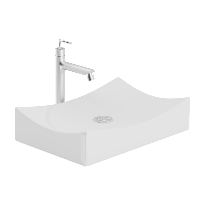modern rectangular washbasin 3D model