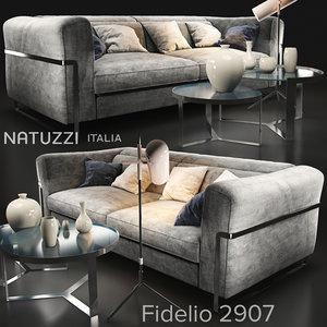 3D sofa natuzzi fidelio 2907 model