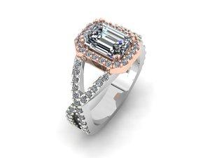 3D model emerald ring
