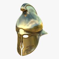 Helmet Greek Gold Lowpoly